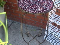 Red Glass Plant Stand